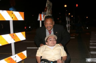 622 With Jesse Jackson in Chicago just before Obama gives his Victory Speech