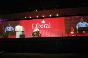Mitch St.Pierre speaking at a Liberal Party Convention in Ottawa