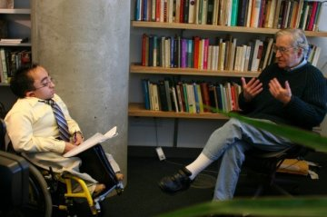 Interviewing Noam Chomsky for a documentary project.