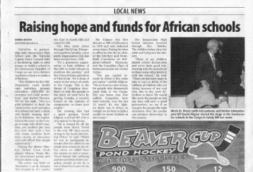 Mitch St.Pierre and former MP David Kilgour shared the stage at the fundraiser for schools in the Congo in Sandy Hill last week